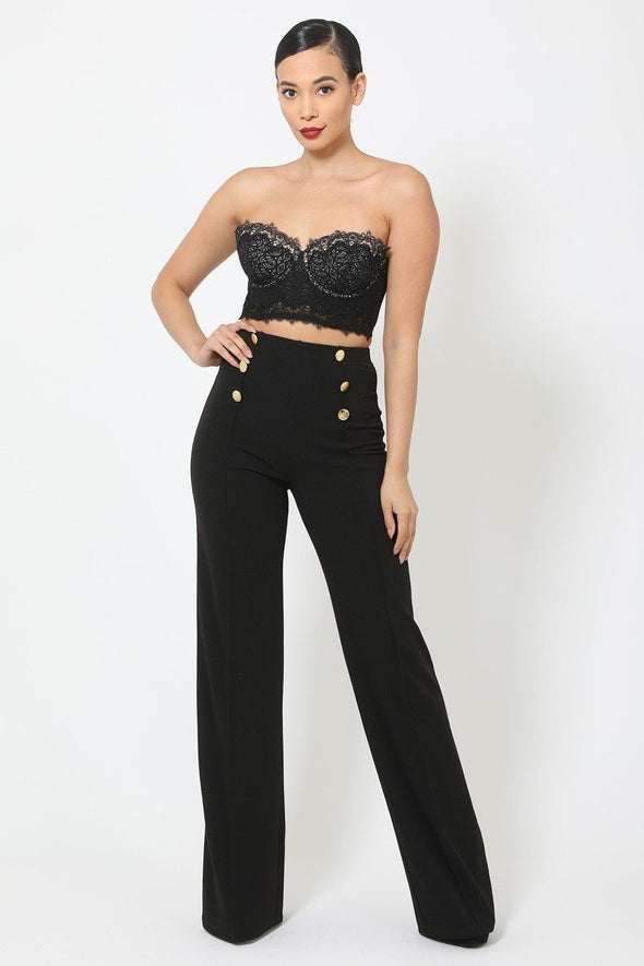 High-waist Crepe Pants With Buttons - Babe Shoppe