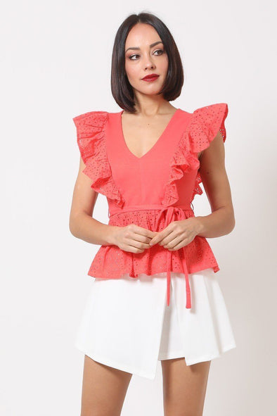 Crotchet Peplum Top W/ Self -front Tie - Babe Shoppe