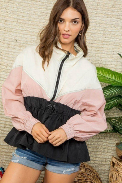 High Neck Zipper Waist Elastic Long Sleeve Bottom Ruffle Color Block Windbreaker - Babe Shoppe
