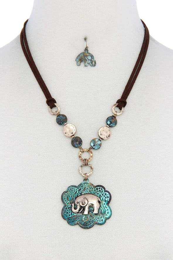 Elephant Pendant Hammered Coin Suede Necklace - Babe Shoppe