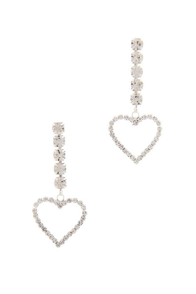 Rhinestone Heart Dangle Drop Earring - Babe Shoppe