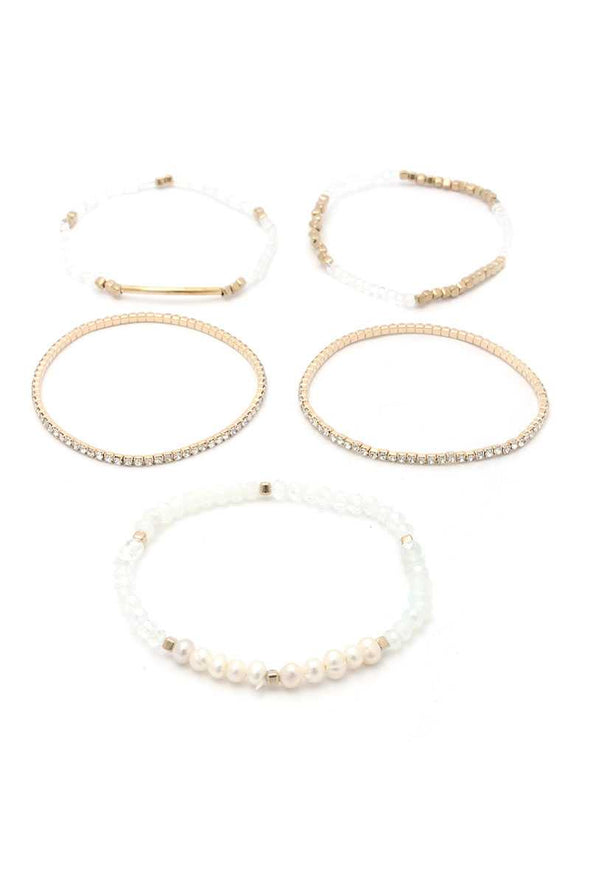 Fresh Water Pearl Stackable Bracelet Set - Babe Shoppe