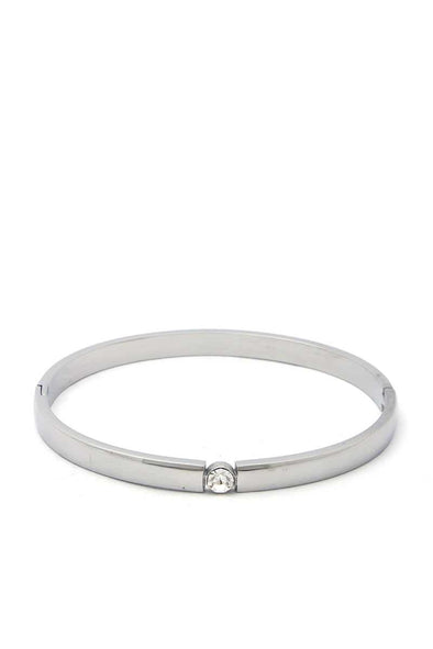 Cubic Zirconia Stainless Steel Bangle - Babe Shoppe