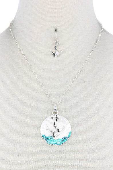 Anchor Round Pendant Necklace - Babe Shoppe