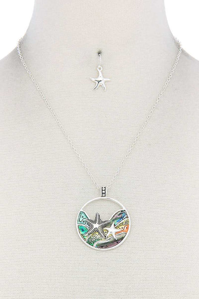 Starfish Round Pendant Necklace - Babe Shoppe