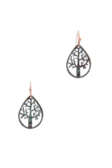 Oak Tear Drop Shape Earring - Babe Shoppe