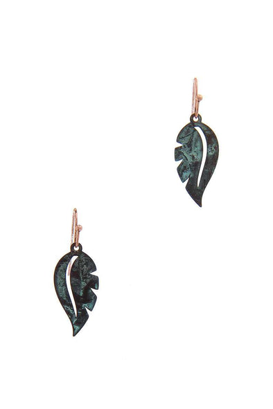 Leaf Shape Drop Earring - Babe Shoppe