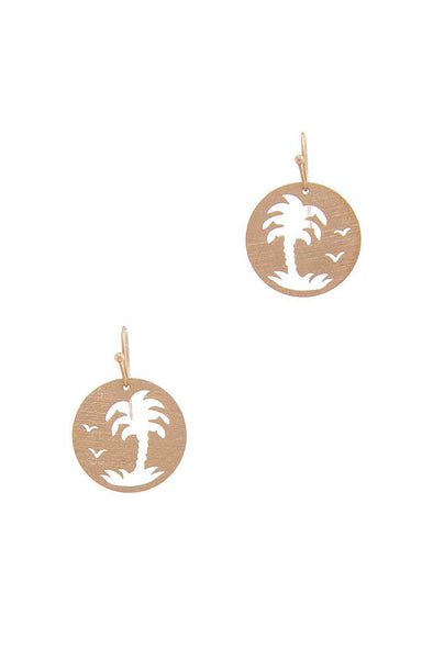 Palm Tree Circle Drop Earring - Babe Shoppe