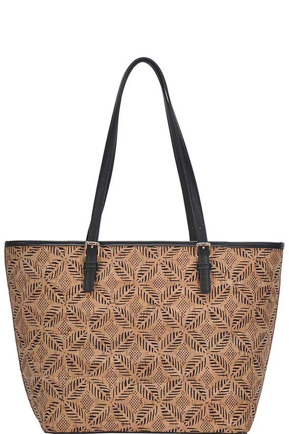 Chic Trendy Cork Textured Fashion Pattern Shopper Bag - Babe Shoppe