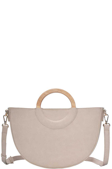 Stylish Semi Circle Modern Satchel With Long Strap - Babe Shoppe