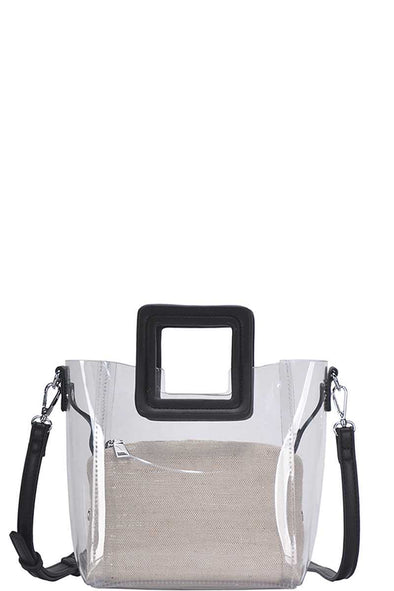2in1 Transparent Satchel With Long Strap - Babe Shoppe