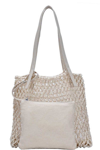 2in1 Modern Chic String Woven Tote Bag - Babe Shoppe