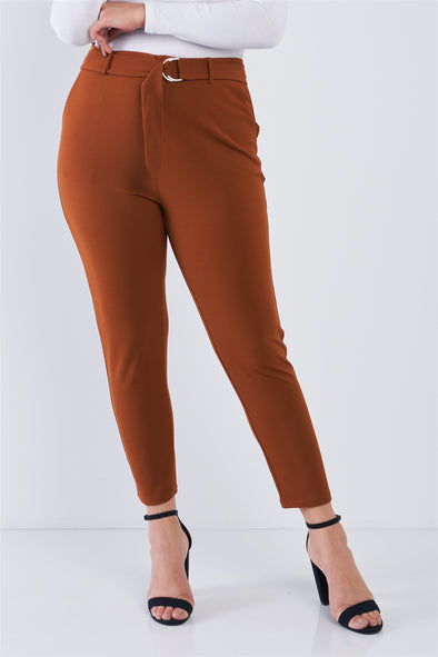 Plus Size High Waisted Ankle Length Pants - Babe Shoppe