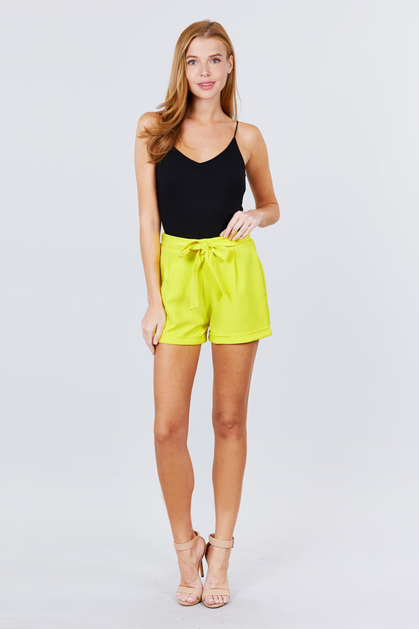 Front Tie W/elastic Band Short Pants - Babe Shoppe