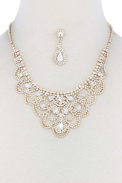 Rhinestone Bib Necklace - Babe Shoppe