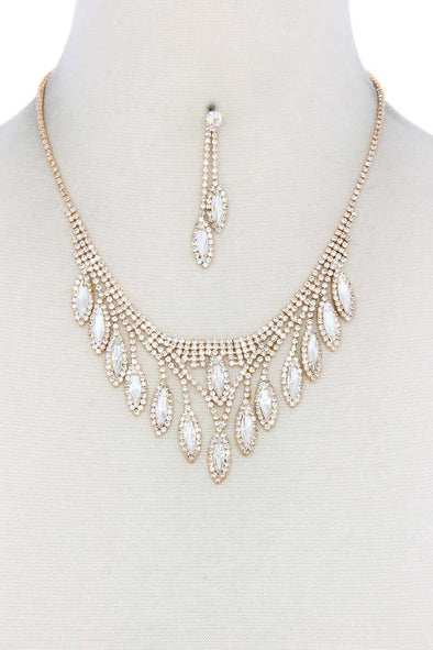 Marquise Shape Rhinestone Necklace - Babe Shoppe