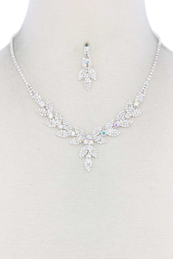 Leaf Shape Rhinestone Necklace - Babe Shoppe