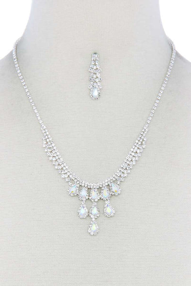 Rhinestone Teardrop Shape Necklace - Babe Shoppe