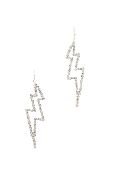 Rhinestone Lighting Bolt Drop Earring - Babe Shoppe