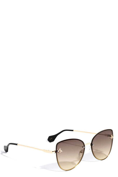 Stylish Bee Accented Aviator Sunglasses - Babe Shoppe