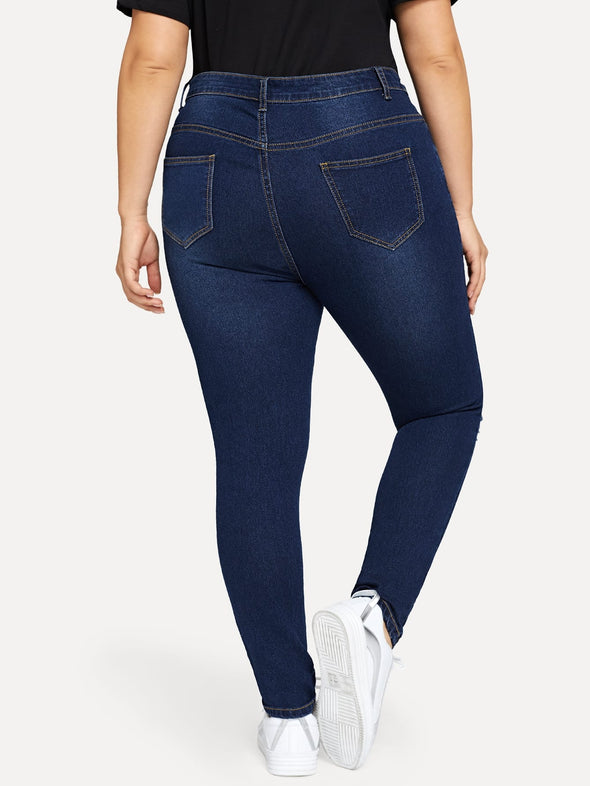 Plus Distressed Skinny Jeans - Babe Shoppe