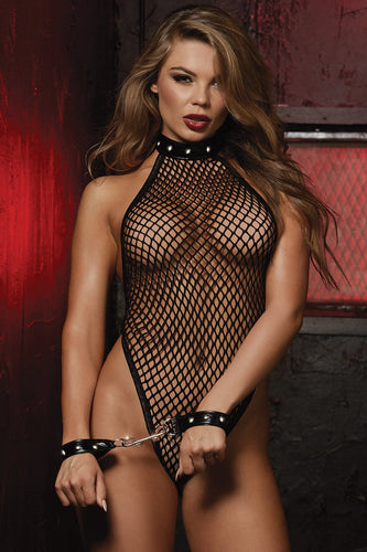 Fishnet halter bodysuit with neckline stud details
