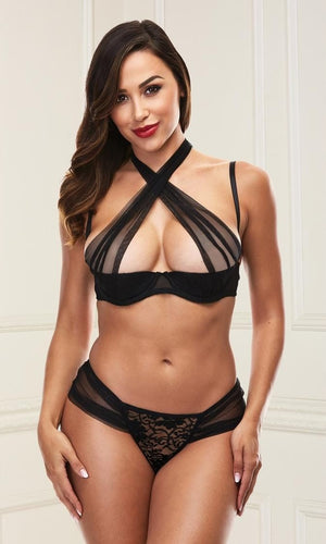 Sexy criss-cross black bra set
