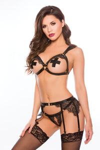 BDSM bra set with open cups