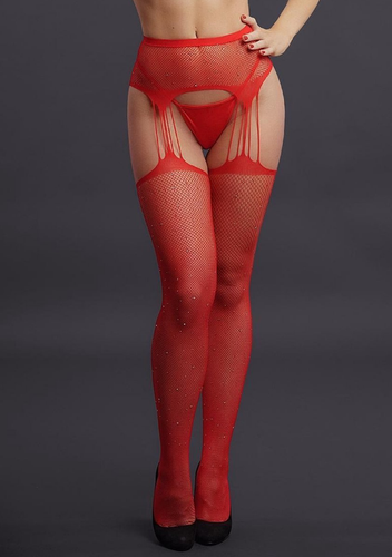 Pantyhose Suspender Belt Stockings with Rhinestones