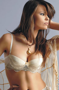 Luxurious cream balconette push up bra