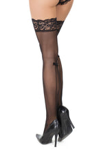 Seamed stockings with a bow