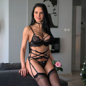Exclusive lace strappy bra and garter set
