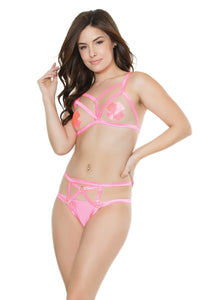 Hot neon pink strappy crotchless set