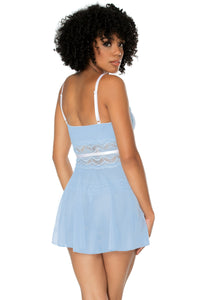 Feminine light blue babydoll set