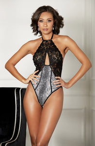 Luxurious bodysuit with snake animal print