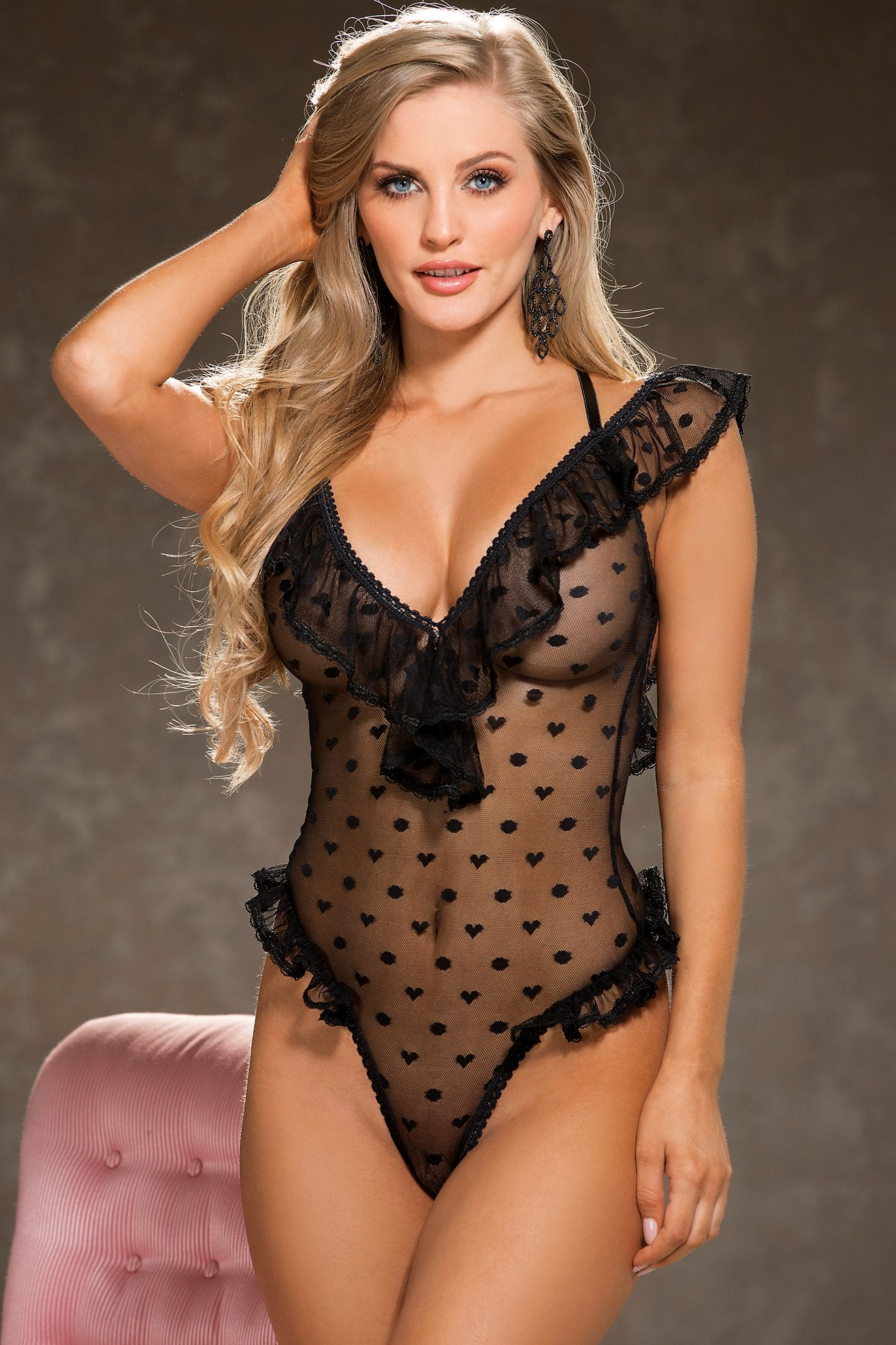 Sexy heart bodysuits with polka dots