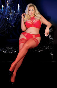 Red plus size stockings