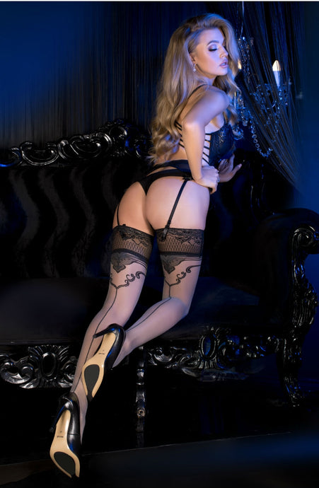 Exclusive black seamed stockings