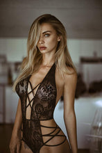 Sensual strappy black lace bodysuit