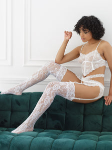 White soft cup bra and garter belt set