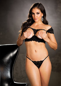 Erotic open cups crop top lingerie set