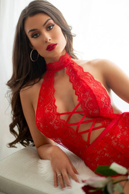 Sophisticated and elegant red lace bodysuit
