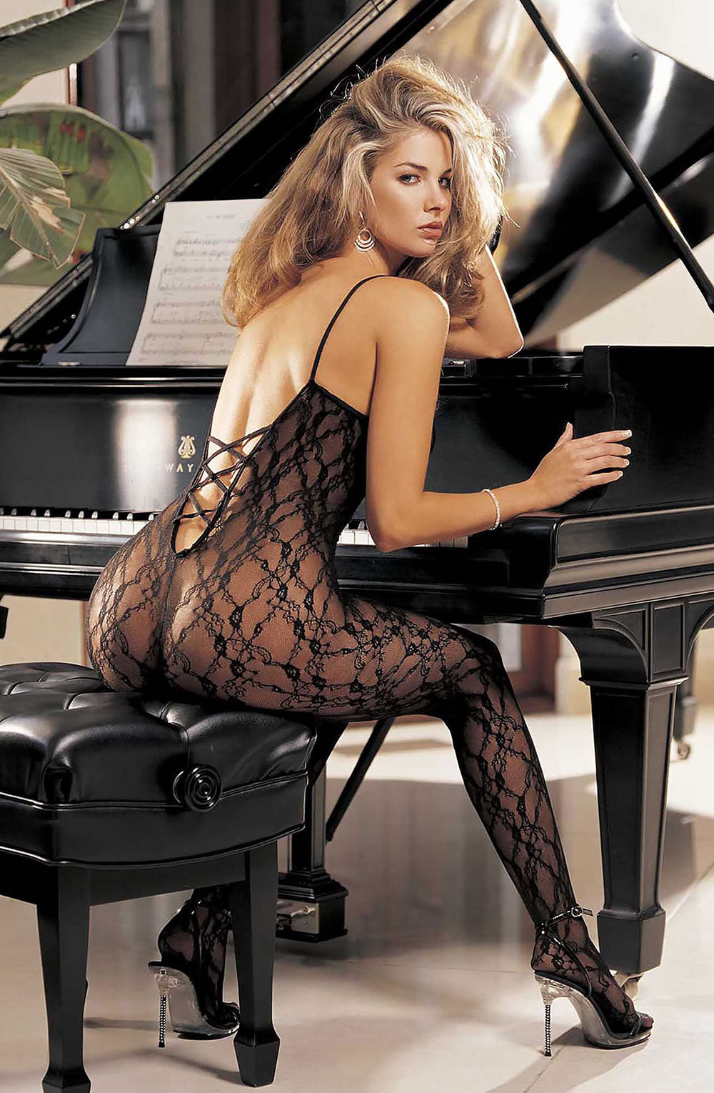 Black floral bodystockings