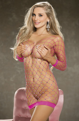 Provocative pink dress with rhinestones