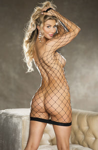 Provocative fishnet dress with rhinestones