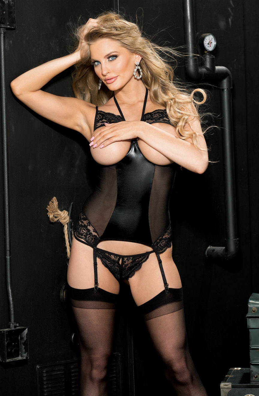 Latex and lace bustier with open cups