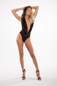 Glamorous black sequin bodysuit with low cut V-neckline
