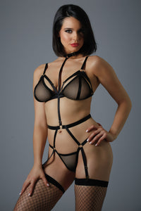Sexy harness bodysuit with a choker