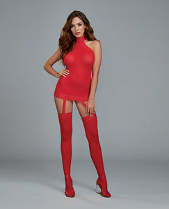 Hot red bodystockings with attached garters