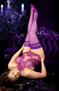 Elegant plum plus size stockings